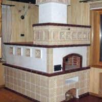печка облицованная плиткой фото