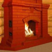 огонь в камине из красного кирпича фото