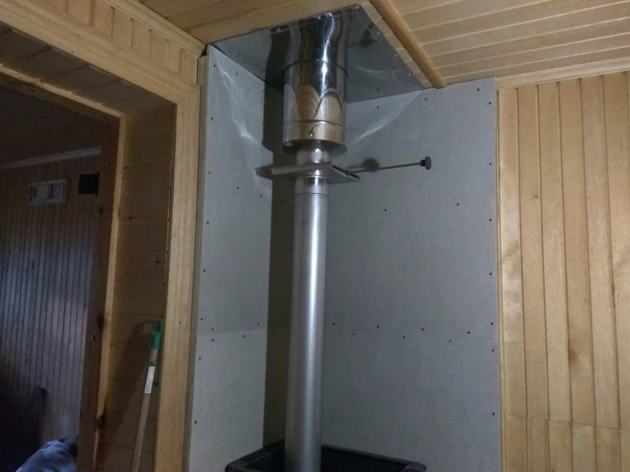 подключение банной печи к дымоходу