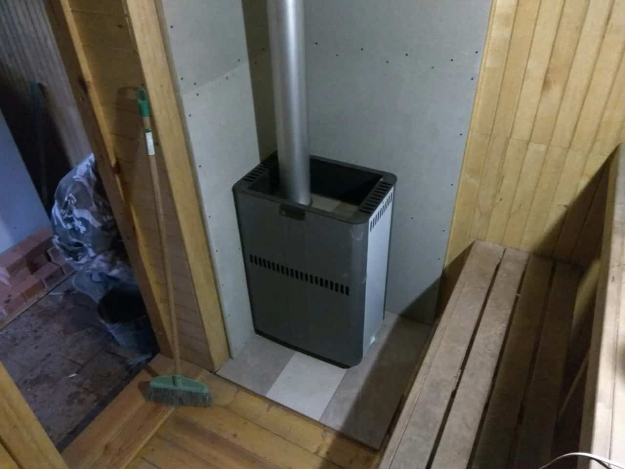банная печь костер со стальным дымоходом