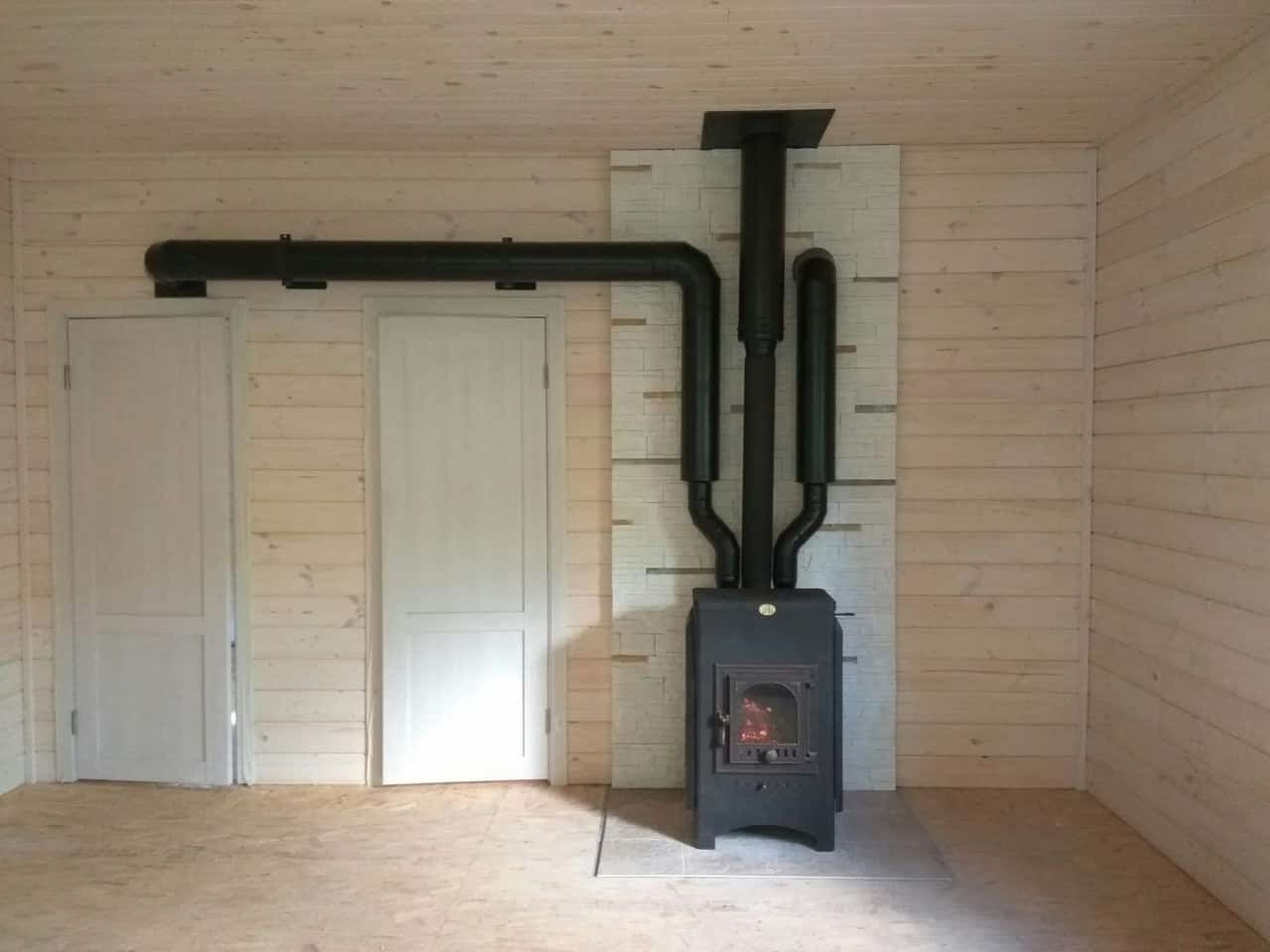разводка теплого воздуха по комнатам печь-камин
