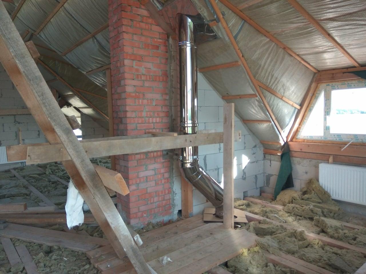 проход стального дымохода через крышу дома